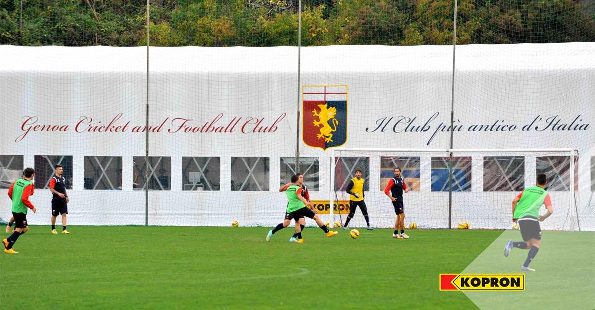 Serigrafia-del-logo-Genova-Calcio-su-copertura-in-PVC-Kopron