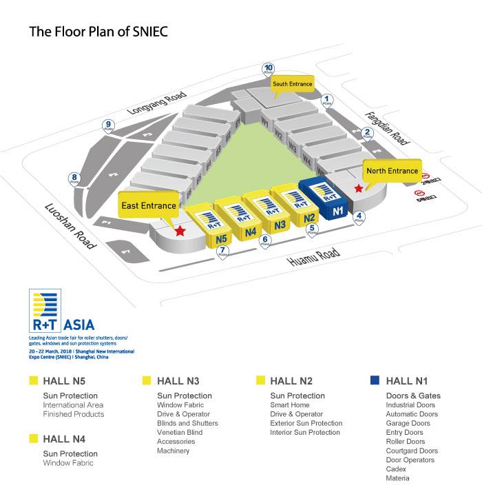 R+T Asia Shanghai 2018 Halls Map