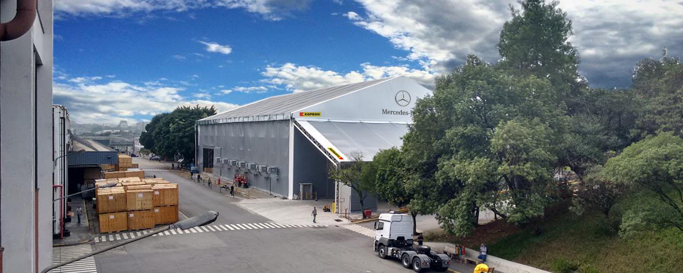 Bâtiments-en-toile-pvc-Kopron-pour-Mercedes-Benz-Brésil